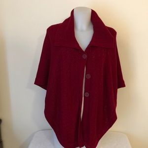New directions sz L  red button down knit poncho